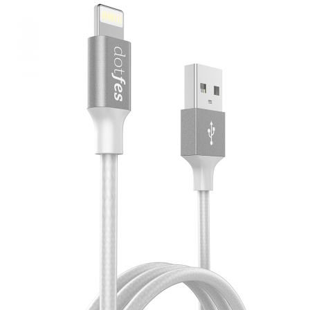 Кабель Dotfes Lightning to USB A03F MFI Transparent TPE Braided серый для IPhone