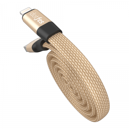Кабель Dotfes Lightning to USB A09 Self-Rolling Gold для IPhone