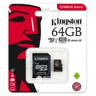 Kingston 64GB microSDXC Canvas Select Class 10 UHS-I 80MB/s Read Card + SD Adapter