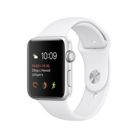 Apple Watch Series 1 42mm Silver Aluminum Case with White Sport Band (MNNL2)