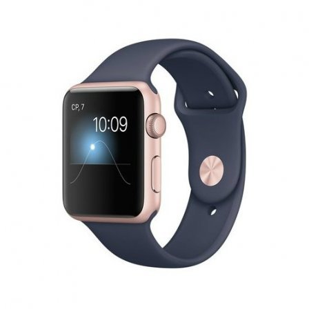 Apple Watch Series 1 42mm Rose Gold Aluminum Case with Midnight Blue Sport Band (MNNM2)