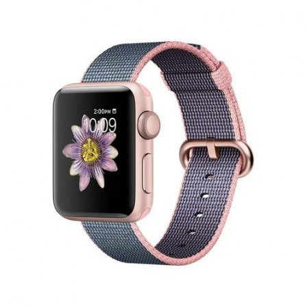 Apple Watch Series 2 38mm Rose Gold Aluminum Case with Light Pink/Midnight Blue Woven Nylon Band (MNP02)