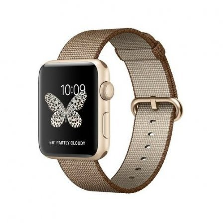 Apple Watch Series 2 42mm Gold Aluminum Case with Toasted Coffee/Caramel Woven Nylon Band (MNPP2)