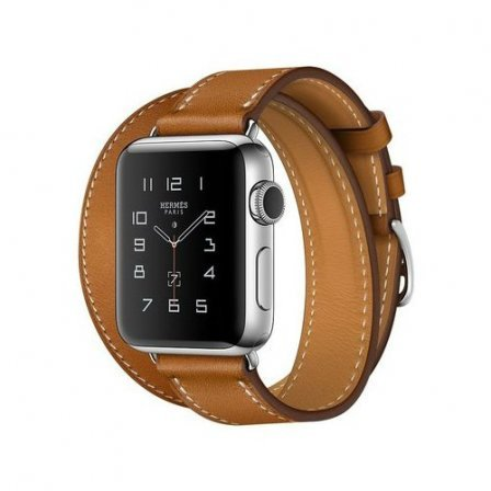 Apple Watch Series 2 Hermes 38mm Stainless Steel Case with Fauve Barenia Leather Double Tour Band (MNQ92)