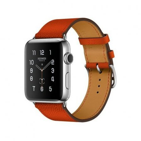 Apple Watch Series 2 Hermes 42mm Stainless Steel Case with Feu Epsom Leather Single Tour (MNQ22)