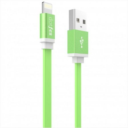 Кабель Dotfes Lightning to USB A05 Colorful Noodles Green для  IPhone