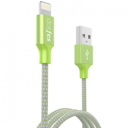 Кабель Dotfes Lightning to USB A06 Dual Tone Color Green для IPhone