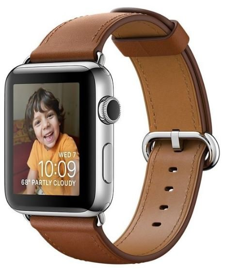 Apple Watch Series 2 42mm Stainless Steel Case with Saddle Brown